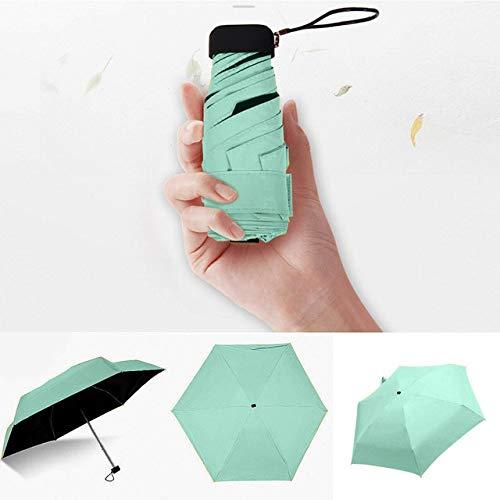 Paraguas ligero de lujo de las mujeres Sombrilla de revestimiento negro 5 plegable Sun Rain Umbrella Unisex Travel Protable Pocket Mini paraguas - verde, a1