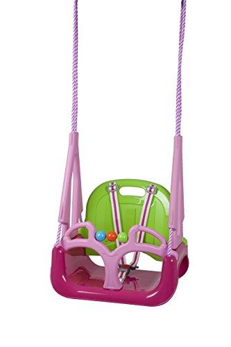 BabyGO 9601 - Schaukel Doremi 3 in 1 bis 100 kg geprüft, Outdoor Spielgerät, rosa/grün
