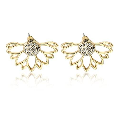 DFDLNL Regalos Pendientes Pendientes de Diamantes de imitación de Loto Retro Pendientes de Flores de Cristal para Mujer Regalo de San Valentín 1