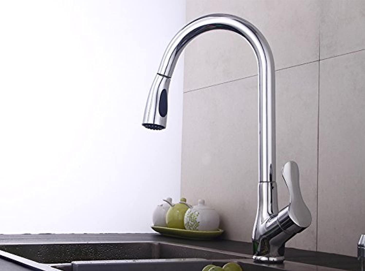 Makej Swivel Basin Faucet Brass Polished Silver Kitchen Faucet Double Control Single Handle Hole Deck Mount Mixer Water Tap