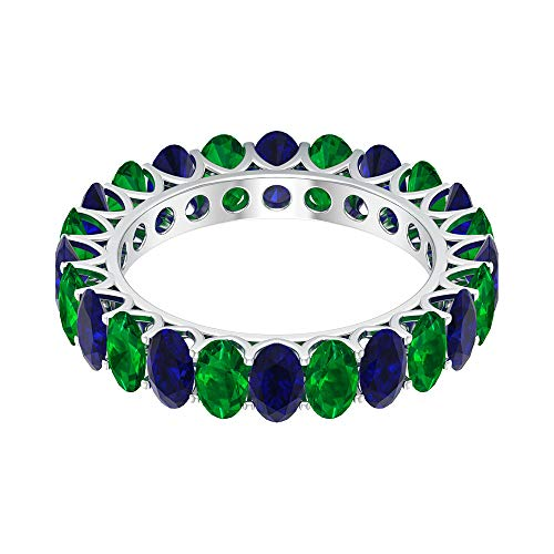 Anillo de boda con zafiro azul de 4,2 ct, 5 x 3 mm, forma ovalada, anillo de esmeralda, anillo de piedra natal de mayo, banda única de eternidad, 18K Oro blanco, Size:EU 45