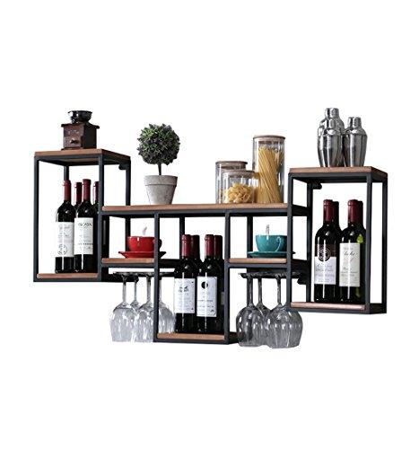 Baldas flotantes Retro Wall Wine Shelf Metal hierro para Bar | Titular de vidrio de vino de madera | Vinoteca | Soporte de vaso | Enfriador de vino de pared | Estante colgante de vidrio de vino | Esta