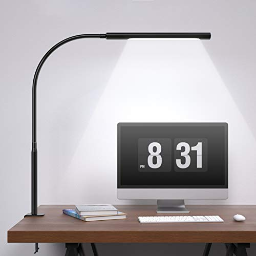 Swing Arm Lamp, Wellwerks LED Desk Lamp with Clamp, 12W...