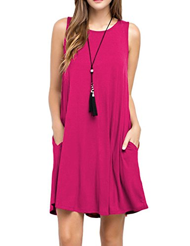 Sexyshine Women's Summer Casual Sleeveless Swing Simple Solid T-Shirt Loose Dresses with Pockets(RO,L) Rose Red