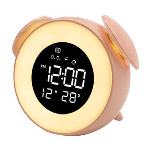 Ponacat LED wekker licht zonsopgang dimbare digitale wekker met sluimermodus nachtlampje blauw M roze