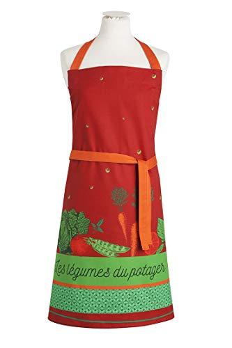 Coucke Tablier Légumes du Potager, Coton, Orange, 85x76 cm