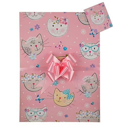 Geschenkpapier-Set Katzen, hochwertig, 2 Bögen, 2 passende Anhänger und 2 passende Schleifen zum Zuziehen, Pink Ideales Geschenk für Kinder, Damen, Geburtstagsgeschenk