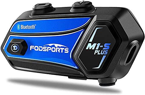FODSPORTS M1-S Plus Interfono Moto Bluetooth Auricolari Casco Singolo Con Audio Stereo,CVC Riduzione Rumore,Condivisione Della Musica, Disattivazione Del Microfono, FM, Interfono Per 8 Motociclisti