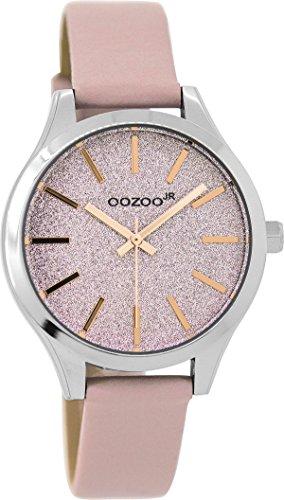 Oozoo Mädchen-/Damenuhr mit Lederband 35 MM Glitzer/Pinkgrau JR297