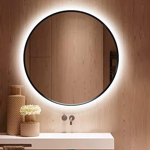 Bathroom Mirror Espejo De Baño Redondo con Luz LED Retroiluminada,con Marco De Aleación De Aluminio Negro, Maquillaje, Espejo De Afeitar, Antivaho/Impermeable φ60cm(24in)