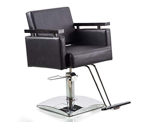 Danyel Beauty Professonal Hydraulic Barber Chair Salon Beauty Spa Hair Styling Chair (Square Base, Black Color)