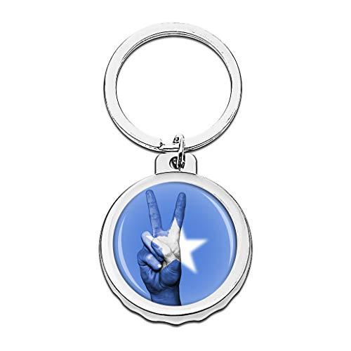 Hqiyaols Keychain Fahne Somalia Cap Flaschenöffner Schlüsselbund Creative Kristall Rostfreier Stahl Schlüsselbund Reisen Andenken
