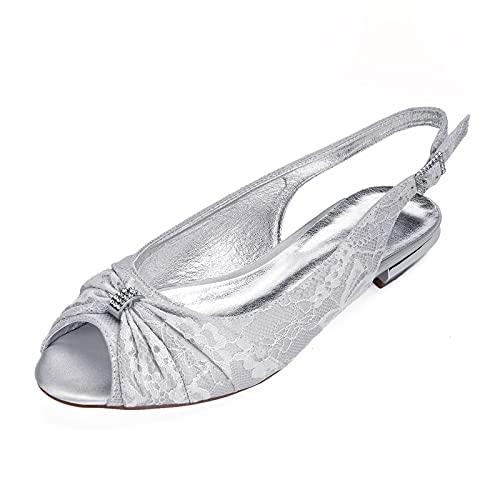 Zapatos De Boda Planos para Mujer, Bailarinas De Encaje Punta Abierta Diamantes De Imitación Zapatos De Novia Fiesta 5049-26,Sliver,8 UK/41 EU