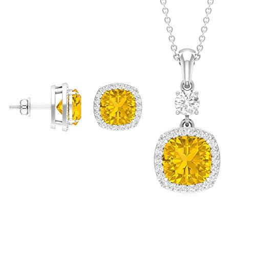 Rosec Jewels 18 quilates oro blanco cojín Round Brilliant Yellow Moissanite zafiro sintético amarillo