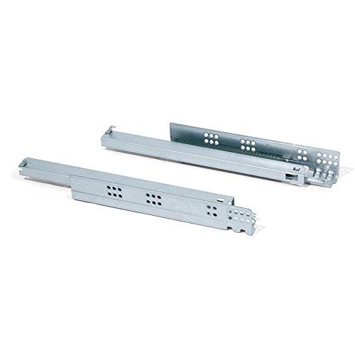 Emuca 3050205 set onzichtbare geleiders voor lade, volledige uittrekbaarheid, soft-sluiting, verzinkt 390 mm verzinkt