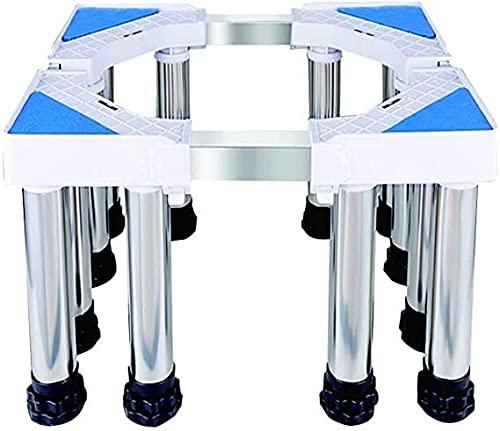 Multifunctionele Wasmachine Houder Verstelbare Basisstandaard Droger Opgeheven Basisstandaard voor koelkast met vriesvak Roestvrijstalen planklengte 40-74cm Breedte 48-66cm