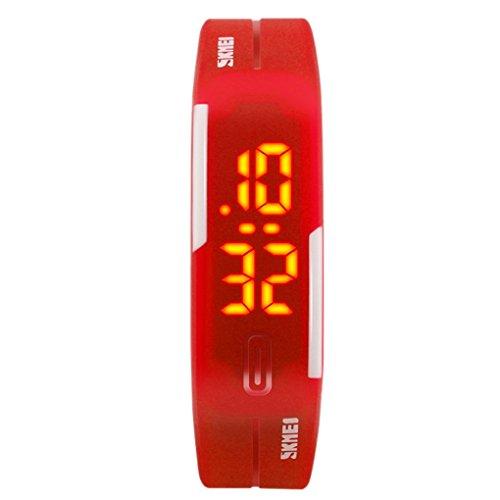 SKMEI - Reloj Digital Resistente al Agua Estilo Deportivo PU con LED Reloj Impermeable para Niños Chicos - Rojo