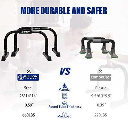 Product Image 5: 5BILLION XL Push Up Stands Parallettes Dip Bars with Non-Slip Foam Handle & Rubber Feet Workout for Handstand Muscle Ups Push Ups Home & Gym Training