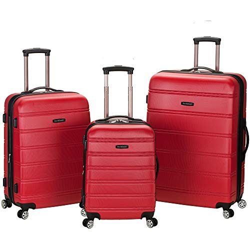 Rockland Melbourne Hardside Expandable Spinner Wheel Luggage, Red, 3-Piece Set (20/24/28)