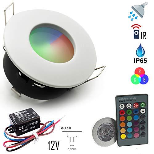 Einbaustrahler IP65 LED Chrom Duschkabine RGB 3W 12V Netzteil Bianco