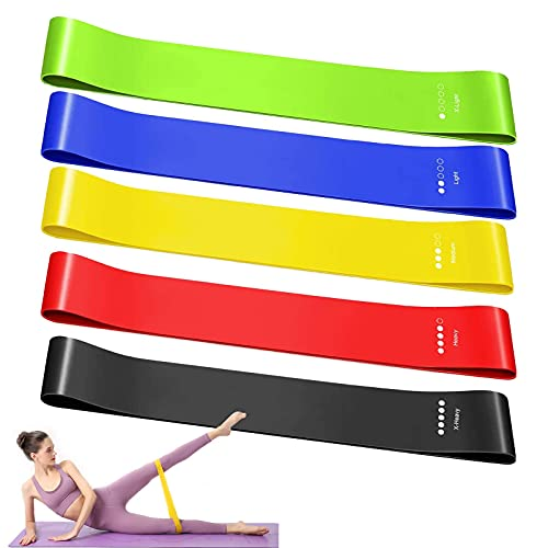 Ealicere Elastici Fitness, Bande di Resistenza Fitness in Tessuto con 5 Livelli di Resistenza,per Esercizi Glutei, Yoga, Pilates, Palestra