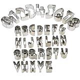 Voarge 35 Stück Ausstechformen für Keks Fondant, DIY Fondant Ausstechformen Alphabet Nummer mathematische Symbole Backzubehör mit Aufbewahrungsbox, Edelstahl