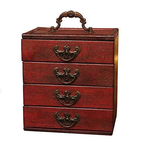 Smyckeskrin för kvinnor Retro Smycken Box Trä Präglade Smycken Souvenir Förvaring Box Förvaring Smycken Organisation Förvaring Box Presentkort (Color : Red)