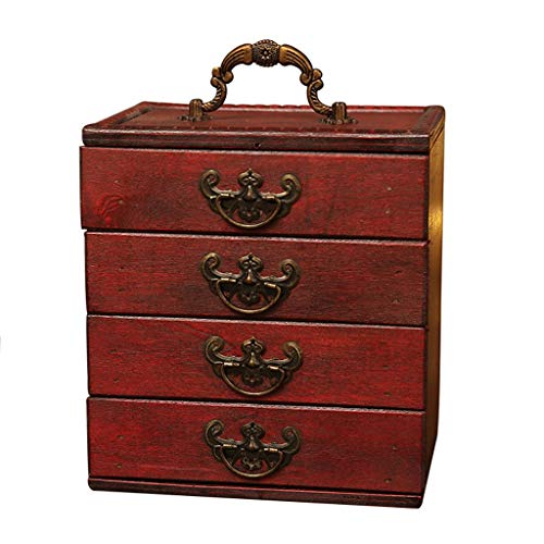 Joyas Caja Caja de joyería retro joyería en relieve de madera caja de almacenamiento de almacenamiento de la caja de almacenamiento de la organización de la caja de almacenamiento del regalo para las