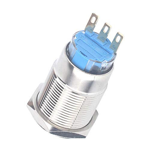 harayaa Lámpara de Señal de Reinicio de Indicador de Metal LED Impermeable de 19 Mm Autoblocante