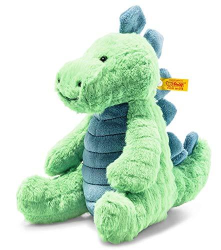 Steiff 087813 Original Plüschtier Spott Stegosaurus, Soft Cuddly Friends Kuscheltier ca. 28 cm, Markenplüsch mit Knopf im Ohr, Schmusefreund für Babys von Geburt an, Grün/Petrol