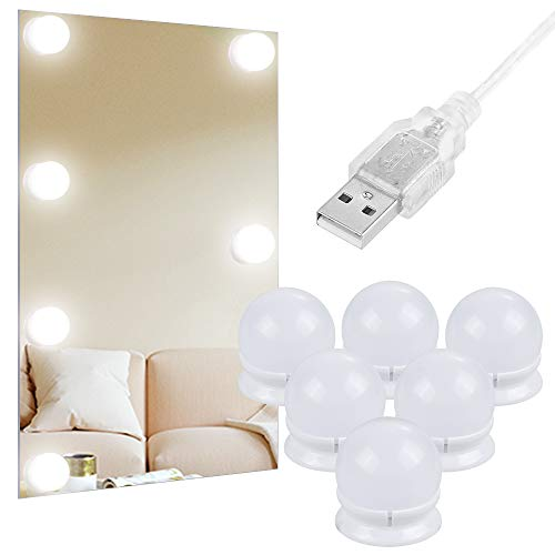 Anpro Luces LED Kit de Espejo con 6 Bombillas regulables,3 Modos Ajustable de Color de Luz,Luz Espejo Maquillaje,Tocador,Espejo,Baño,Pared