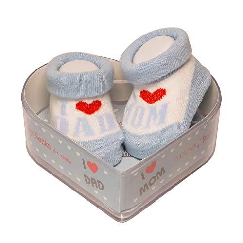 Neugeborene Babysocken Kleiner Junge| Dicke Baumwolle & rutschfeste Griffe | Perfekter Geschenk für Neugeborene Babys & Babyshowers | Blau, 0-4 Monate