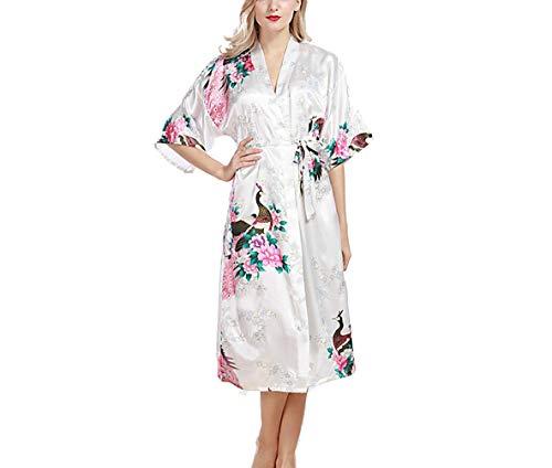 Pasen Vrouwen Dressing Jurk Kimono, 2018 Lange Stijl Glad Satijn Nachtkleding Eenvoudige Stijl Badjas Jurk Met Pauw En Bloem Kimono Negligee Zijde Jurk Losse pyjama Voor Vrouwen