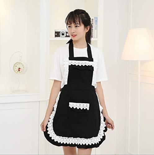 LYX® schort, Koreaanse versie mode schort zwart katoen verdikking koffie winkel thee-winkel schoonheidssalon restaurant werkkleding vrouwelijke zomer huishouden verstelbare anti-fouling tuin