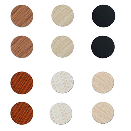 PVC Cover Caps Self Adhesive Screw Hole Sticker,324Pcs Stickers for Wood Furniture Shelve Plate,6 Colors Waterproof Wood Textured Plastic Cover for Cabinets Bookcase Desk Countersunk Screws Cam Lock