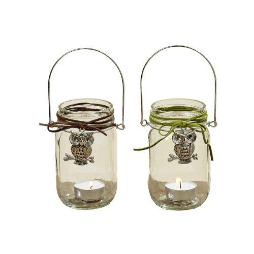 2er Set Windlicht ~ Eule ~ Kerzenglas Teelicht Glas für Kerzen