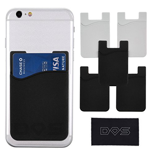 Diamond Shield rrx-32 Stick-On Wallet, ID/Credit Card Holder for Phones, Retail Package, Strong 3M Adhesive, Fits Most Phones (Including iPhone SE/6s/6/5, Samsung Galaxy S6/S5) - Non-Slip Silicone