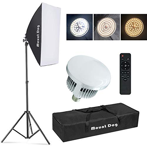 Upgrade LED MOUNTDOG Softbox Lighting Kit, Photography Studio Light with 19.7 X27.5  Reflector and 3 Colors Temperature 45W Bulb with Remote, Professional Photo Studio Equipment for Portrait Video