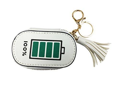 Emartbuy Porta Catena, Portamonete Pelle Pu, Grazioso Mini Charm-Style Key Ring, Zipper Pouch - Portafoglio Completo Della Batteria - Bianco