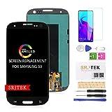 srjtek para S3 I9300 Reemplazo De Pantalla LCD Pantalla LCD AMOLED Asamblea De Digitalizador De Pantalla Táctil para Samsung Galaxy S3 2012 I9300 I9305 I9305T Kit De Piezas (Negro)