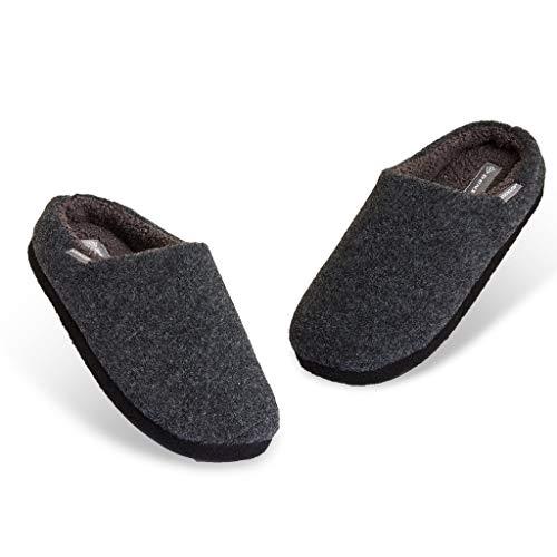 Dunlop Zapatillas Casa Hombre, Pantuflas Hombre De Forro Polar Suave, Zapatillas Hombre Con Suela Antideslizante Interior Exterior, Regalos Para Hombres y Chicos Adolescentes (Gris oscuro, numeric_45)