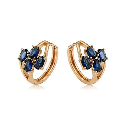 Pendientes de aro de cristal azul zafiro para mujer, oro amarillo 750 laminado*