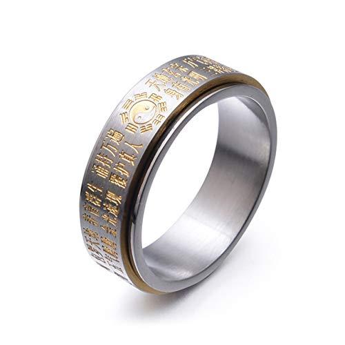 IENPAJNEPQN Anillo Giratorio Estilo de la Moda China Hombres de Acero de Titanio Anillo chisme taoísmo Ocho Gran Dios Lucky Charm Amuleto joyería (Color : Ring Size: 9, Size : Gold)