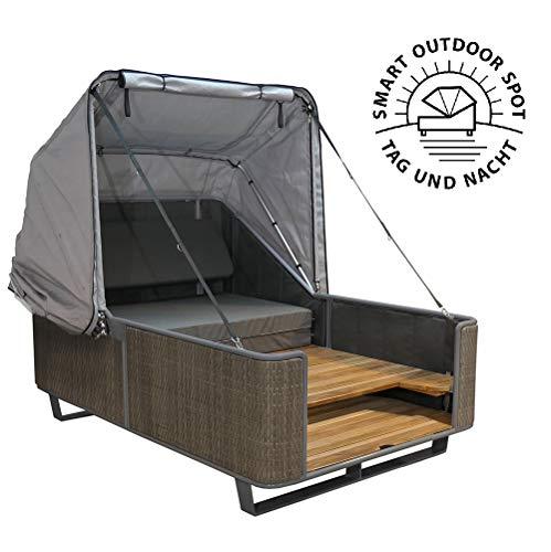 Strandkorbwerk Outdoor Bett liv.be by Ploß – 2in1 Bett und Lounge Sonneninsel (Geflecht)
