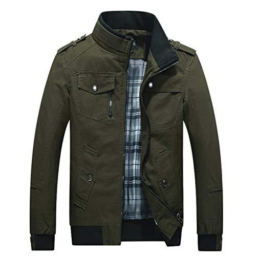 Skxinn Herren Jacke Übergangsjacke Kunstleder Stehkragen Parka Jacke WindbreakerMantel Jacket Coat Gr M-6XL(Z02-Armeegrün,Large)