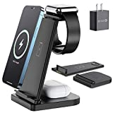 Wireless Charger Stand, Hargedis Wireless Charging Station, 15W QI 3 in 1 Wireless Charger for iPhone 12/12 Pro/11 Pro Max/XR/XS Max/Xs/X/8/8P, iWatch 6 5 4 3 2, AirPods Pro/2(with QC3.0 Adapter)