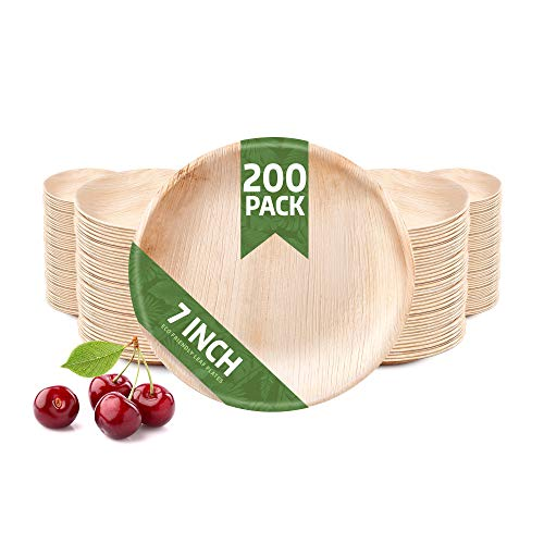 200 Pack of 7' Round Disposable Palm Leaf Plates Set - Sturdy & Elegant - Camping Party Home Use - Biodegradable & Compostable - by Eko Future