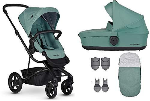 Easywalker Harvey² Kinderwagen + Babywanne + Fußsack + Adapter für Autositz + Höhenadapter Coral Green