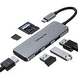 USB Type C ハブ SDカードリーダー HDMI 変換 アダプタ 対応 MacBook Pro 2018/2017,MacBook Air 2018, Surface Go, Lenovo Yoga 920, 5 in 1 USBC Thunderbolt 3 Hub with SD/Micro SD Card Reader,4K HDMI, 高速転送 2* USB3.0 ポー