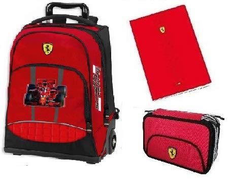 Trolley Scuola Ufficiale Scuderia Ferrari + Astuccio 3 zip + 3 quaderni Ferrari Omaggio